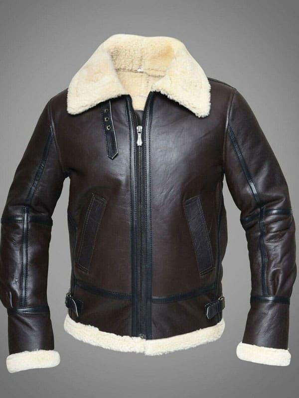 Mens Pilot Aviator RAF B3 Bomber Leather Jacket Dark Brown 2