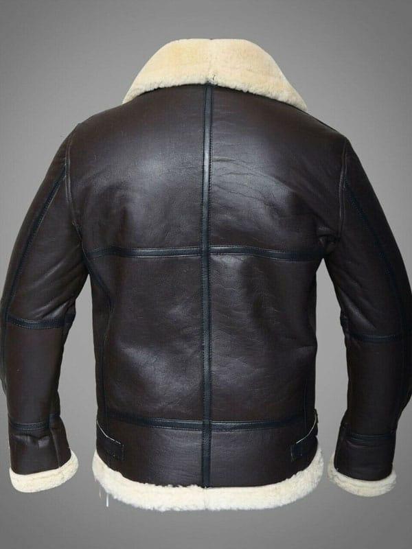 Mens Pilot Aviator RAF B3 Bomber Leather Jacket Dark Brown 3