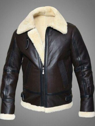 Mens RAF Sheepskin Leather Flying Jacket Dark Brown