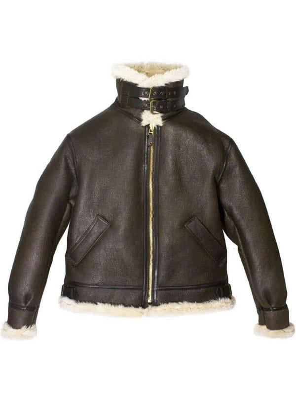 Mens Raf Bomber Ginger Sheepskin Leather Aviator Jacket 1