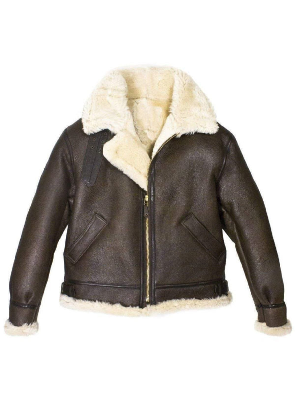 Mens B3 Bomber Aviator WWII Shearling Sheepskin Leather Jacket