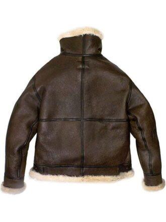 Mens Raf Bomber Ginger Sheepskin Leather Aviator Jacket 2