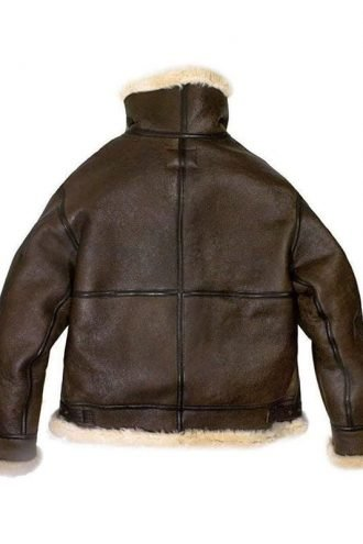 Mens Raf Bomber Ginger Sheepskin Leather Aviator Jacket 2