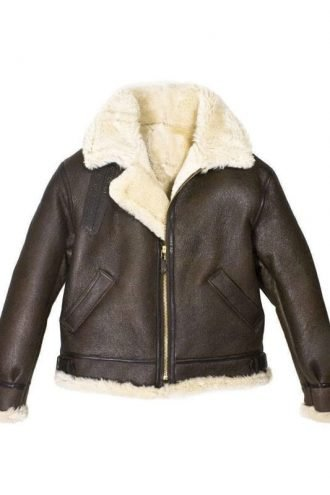 Mens B3 Bomber Aviator WWII Shearling Sheepskin Leather Jacket