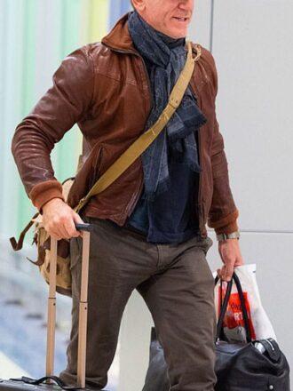 New York Daniel Craig Leather Bomber Jacket Brown 3