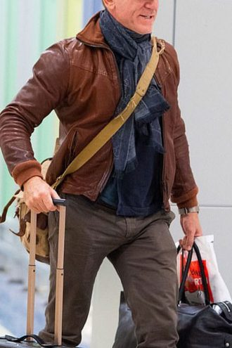 New York Daniel Craig Leather Bomber Jacket Brown 3