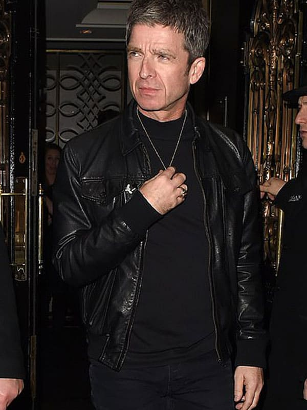 Singer Noel Gallagher Christmas Leather Bomber Jacket 1