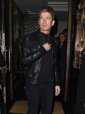 Singer Noel Gallagher Christmas Leather Bomber Jacket 2