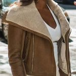 Power TV Series Tasha St. Patrick Sheepskin Shearling Jacket Brown