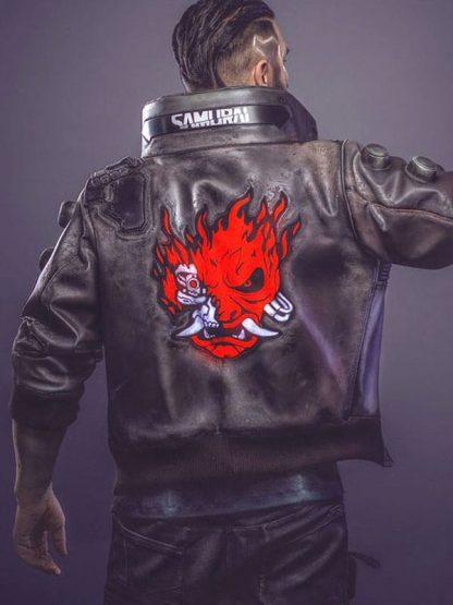 Video Game Cyberpunk 2077 Samurai Leather Bomber Jacket 3