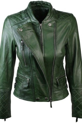 Women Slim FIt Diamond Quilted Leather Biker Jacket Green 1