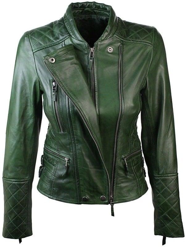 Women Slim FIt Diamond Quilted Leather Biker Jacket Green 1