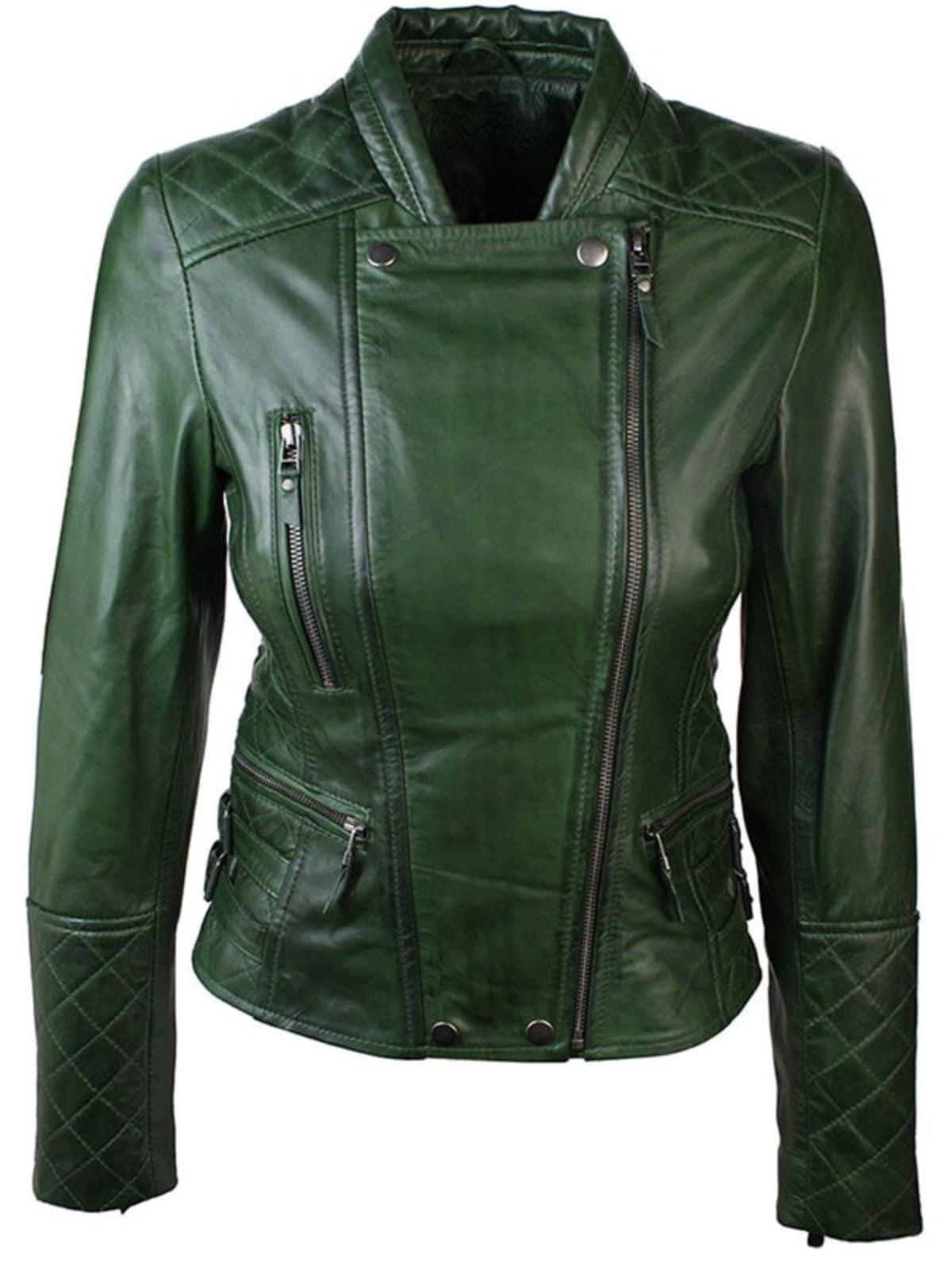 Women Slim FIt Diamond Quilted Leather Biker Jacket Green