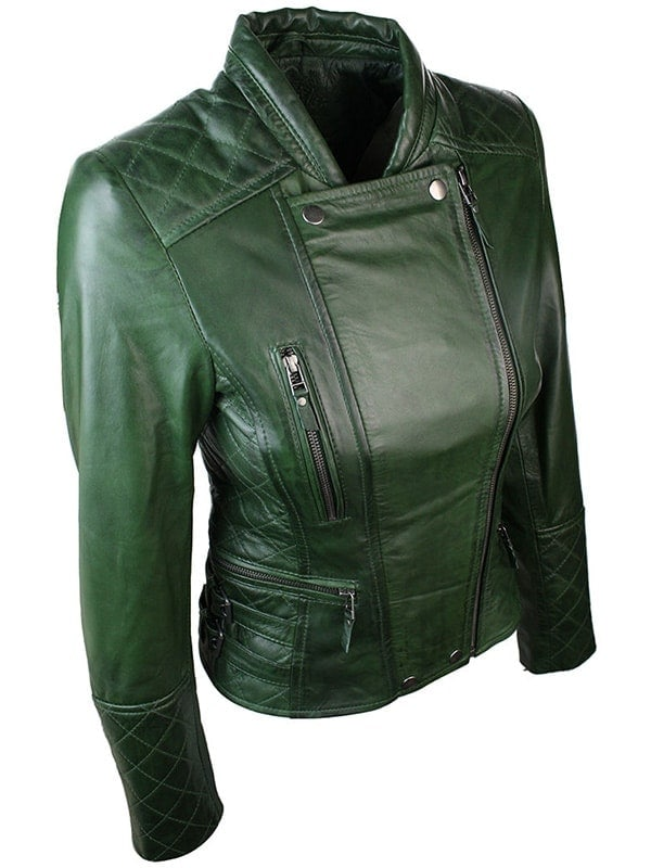 Women Slim FIt Diamond Quilted Leather Biker Jacket Green 2