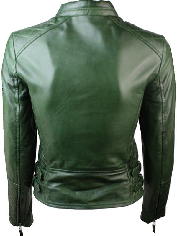 Women Slim FIt Diamond Quilted Leather Biker Jacket Green 3