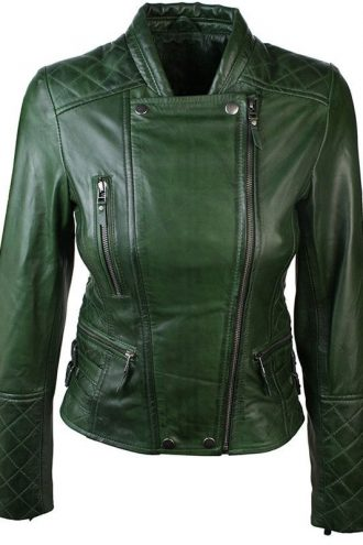 Women Slim FIt Diamond Quilted Leather Biker Jacket Green