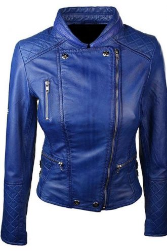 Women Slim FIt Diamond Quilted Leather Biker Jacket Blue