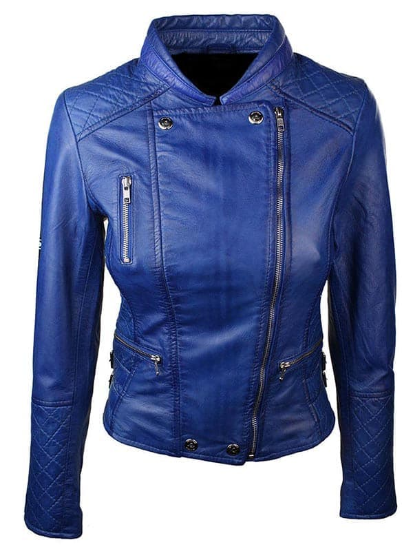 Women Slim FIt Diamond Quilted Leather Biker Jacket Blue