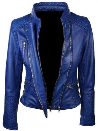 Women-Slim-Fit-Diamond-Quilted-Leather-Biker-Jacket-Blue-2