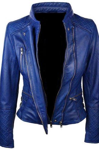 Women-Slim-Fit-Diamond-Quilted-Leather-Biker-Jacket-Blue-2