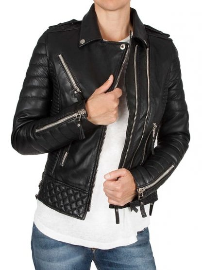Womens Boda Style Quilted Leather Biker Jacket Black