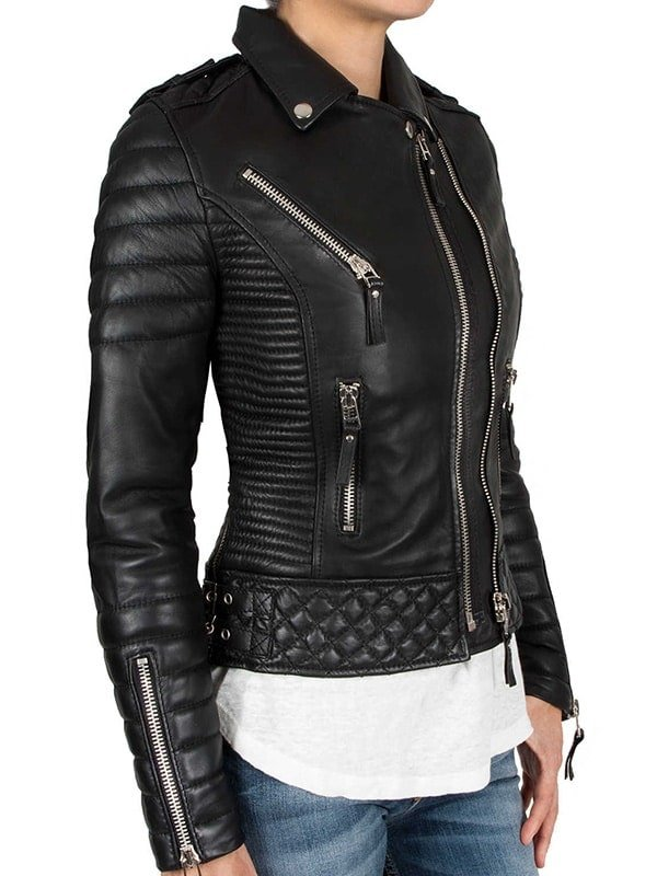 Womens Boda Sheep skins Quilted Slimfit Real Leather Jacket 2