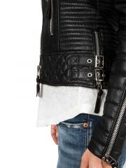 Womens Boda Sheep skins Quilted Slimfit Real Leather Jacket 3