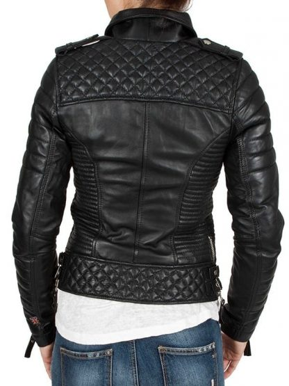 Womens Boda Sheep skins Quilted Slimfit Real Leather Jacket 4