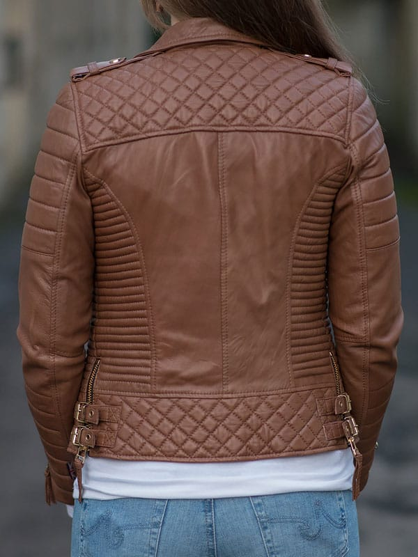 Womens Boda Style Quilted Leather Biker Jacket Brown 1