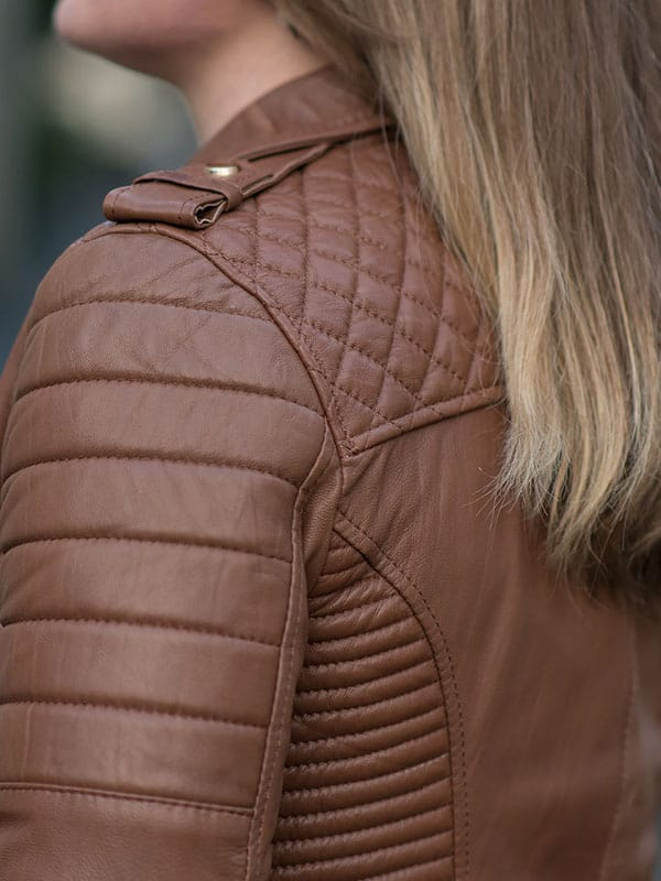 Womens Boda Style Quilted Leather Biker Jacket Brown 3