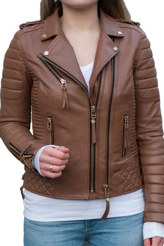 Womens Boda Style Quilted Leather Biker Jacket Brown