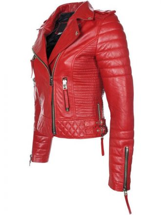 Womens Boda Style Quilted Leather Biker Jacket Red 1