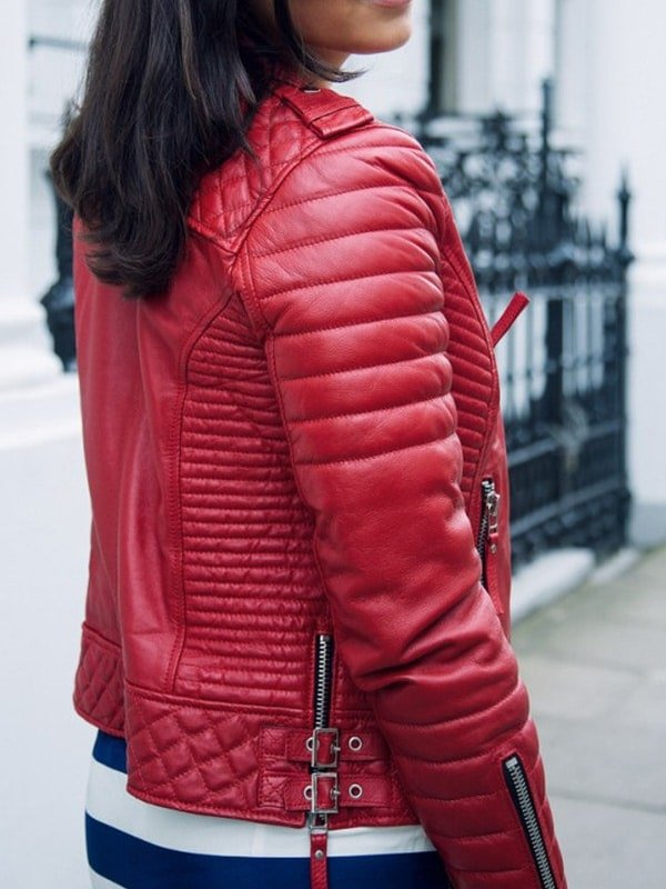 Womens Boda Style Quilted Leather Biker Jacket Red 2