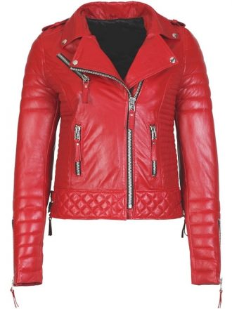Womens Boda Style Quilted Leather Biker Jacket Red