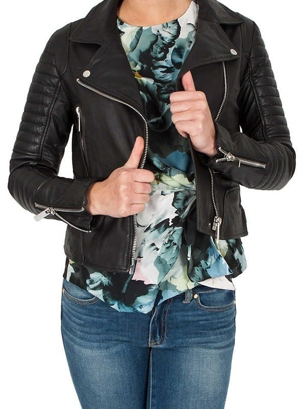 Womens Brando Style Leather Motorcycle Jacket Black