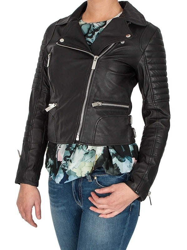 Womens Brando Style Leather Motorcycle Jacket Black