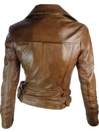 Womens Brando Style Leather Motorcycle Jacket Brown 1