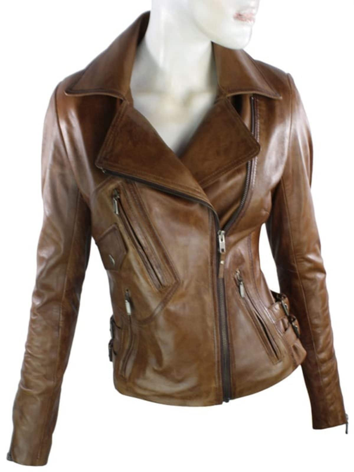 Womens Brando Style Leather Motorcycle Jacket Brown