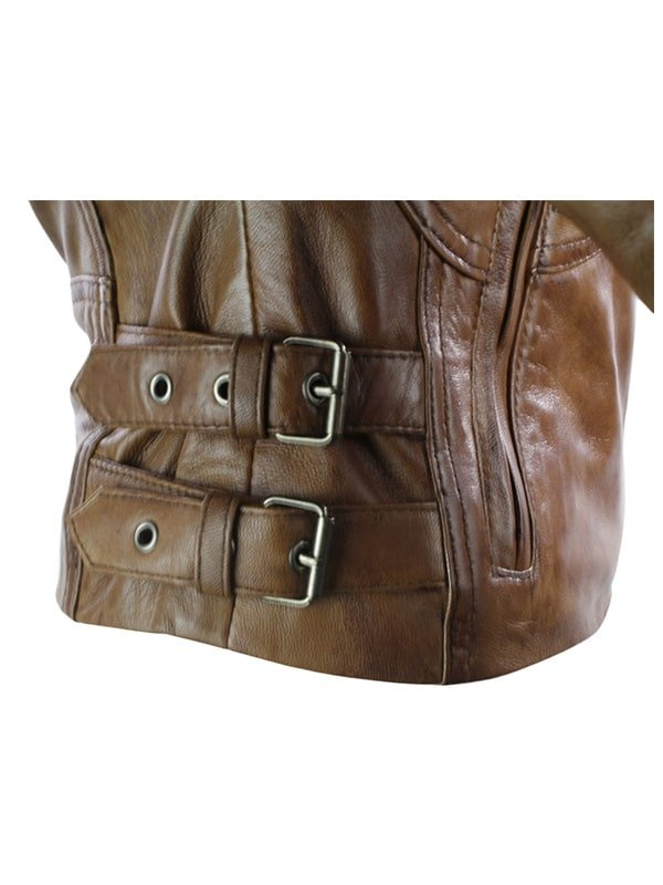 Womens Brando Style Leather Motorcycle Jacket Brown 2
