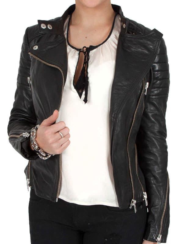 Womens Cafe Racer Leather Biker Jacket Black Cross Zipper 01