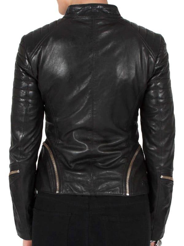 Womens Cafe Racer Leather Biker Jacket Black Cross Zipper 02