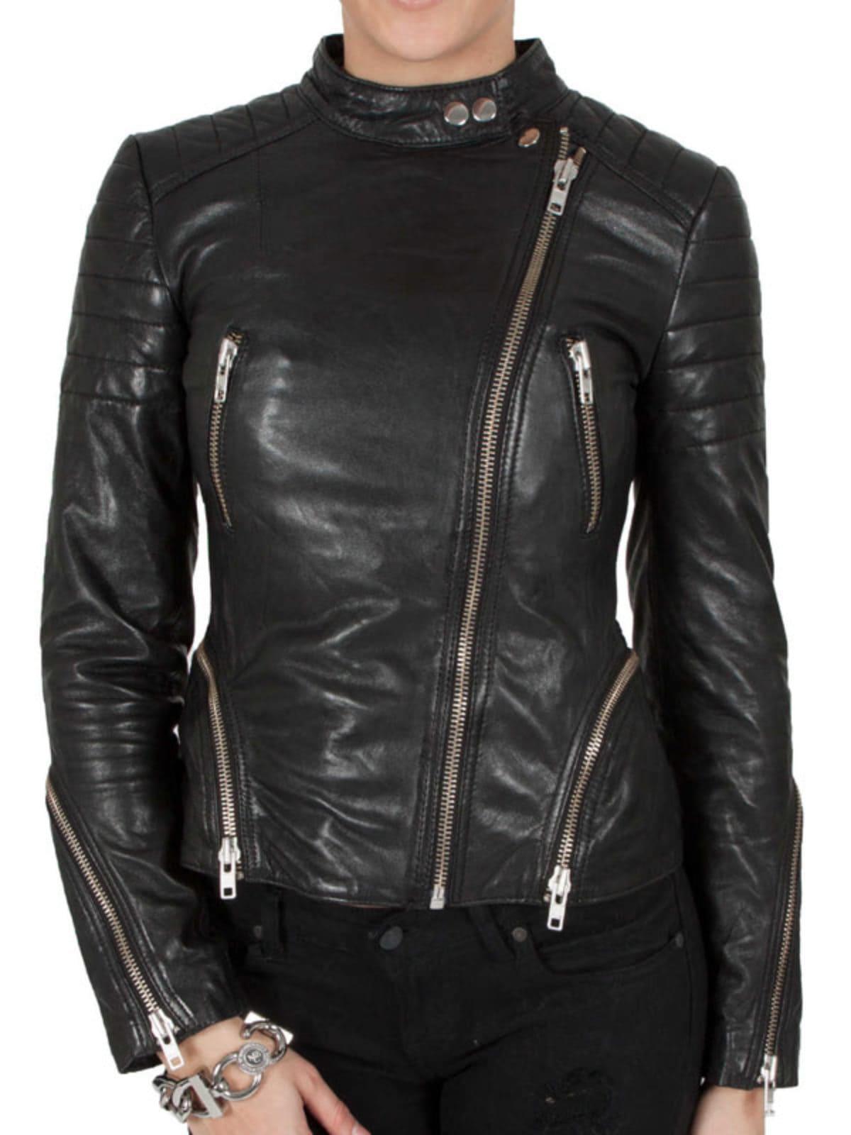 Womens Cafe Racer Leather Biker Jacket Black Cross Zipper