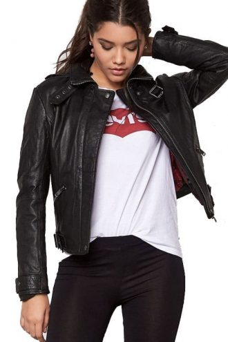 Womens Cafe Racer Leather Motorcycle Jacket Black 02