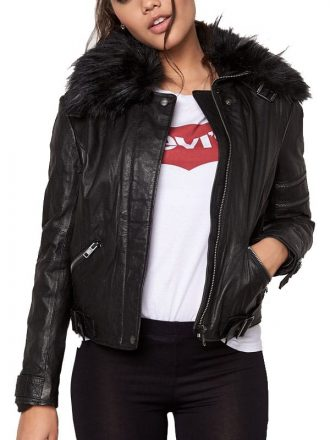 Womens Cafe Racer Leather Motorcycle Jacket Black