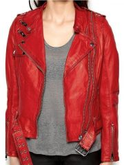 Womens Cafe Racer Leather Motorcycle Jacket Red 1