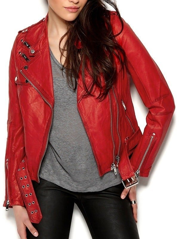 Womens Cafe Racer Leather Motorcycle Jacket Red 2