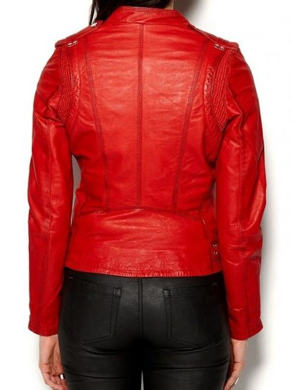 Womens Cafe Racer Leather Motorcycle Jacket Red 3