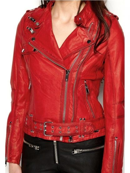 Womens Cafe Racer Leather Motorcycle Jacket Red