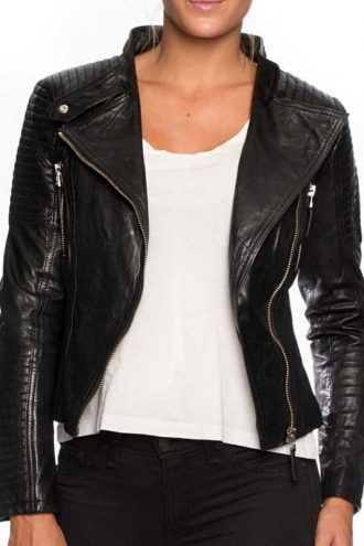 Womens Cafe Racer Short Leather Motorcycle Jacket Black 01