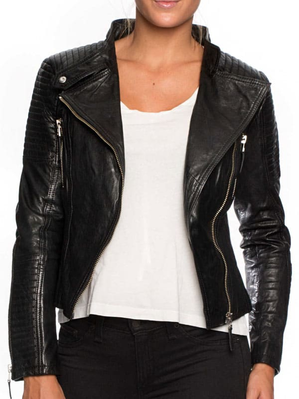 Womens Cafe Racer Short Leather Motorcycle Jacket Black 01